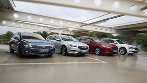 Ford Mondeo Turnier 2.0 TDCi, Opel Insignia Sports Tourer 2.0 Diesel, Skoda Superb Combi 2.0 TDI, VW Passat Variant 2.0 TDI, Frontansicht