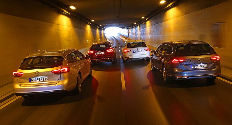 Ford Mondeo Turnier 2.0 TDCi, Opel Insignia Sports Tourer 2.0 Diesel, Skoda Superb Combi 2.0 TDI, VW Passat Variant 2.0 TDI, Heckansicht