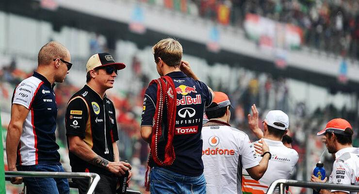 Formel 1 Fahrerparade Kimi Räikkönen Sebastian Vettel