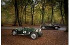 Frazer Nash Le Mans Replica, Frazer Nash Mille Maglia,Seitenansicht, beide Fahrzeuge