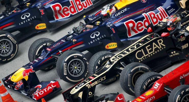 GP China 2012 Parc Ferme Red Bull Lotus Ferrari