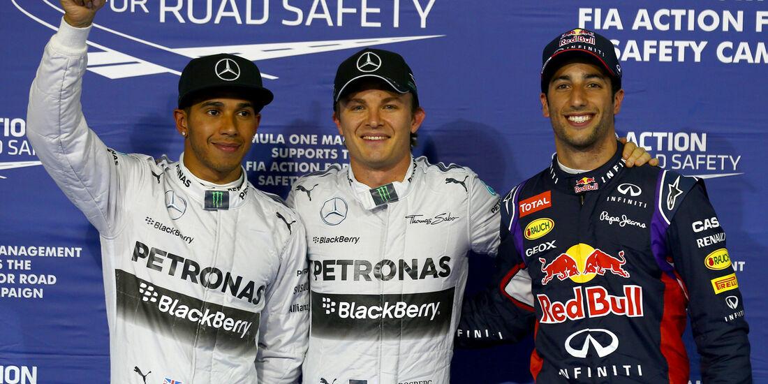 Hamilton, Rosberg & Vettel - Formel 1 - GP Bahrain - Sakhir - 5. April 2014