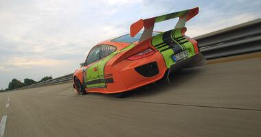 Highspeed-Test, Nardo, ams1511, 391km/h, 9ff Porsche 911 GT3, Heck, Steilkurve