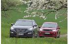 Hyundai Santa Fe 2.2 CR Di 4WD, Land Rover Freelander 2.2 SD4, Frontansicht