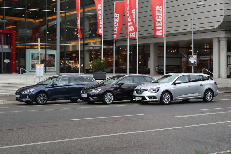 Hyundai i30 Kombi 1.4 T-GDI, Renault Mégane Grandtour Tce 130, Seat Leon ST 1.4 TSI ACT, Außenansicht