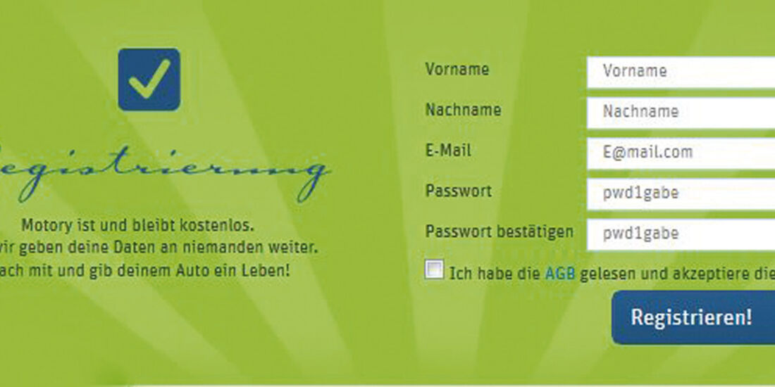 Internetportal Motory, Registrierung