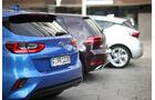 Kia Ceed 1.4 T-GDI, Opel Astra 1.4 DI Turbo, VW Golf 1.5 TSI Act, Exterieur
