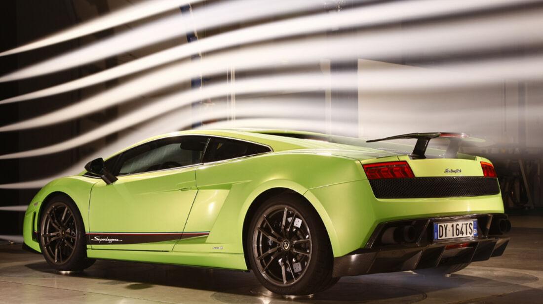 Lamborghini Gallardo LP 570-4 Superleggera, Windkanal, Rückansicht