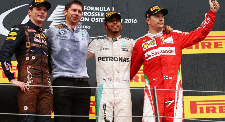 Lewis Hamilton - Max Verstappen - Kimi Räikkönen - Formel 1 - GP Österreich - 3. Juli 2016