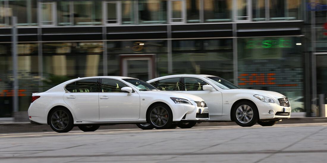 Lexus GS 450h F-Sport, Infiniti M35h GT Premium, Seitenansicht
