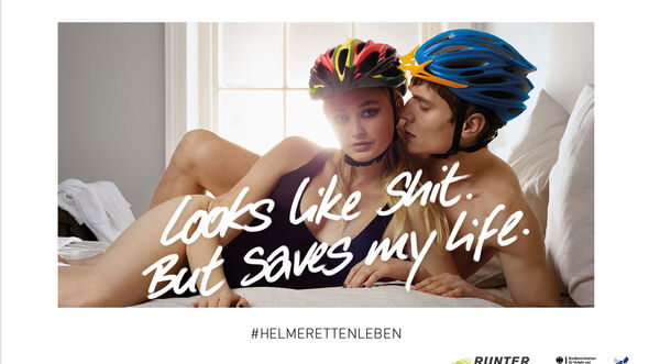 Looks like shit, but saves my life Fahrradhelm-Kampagne