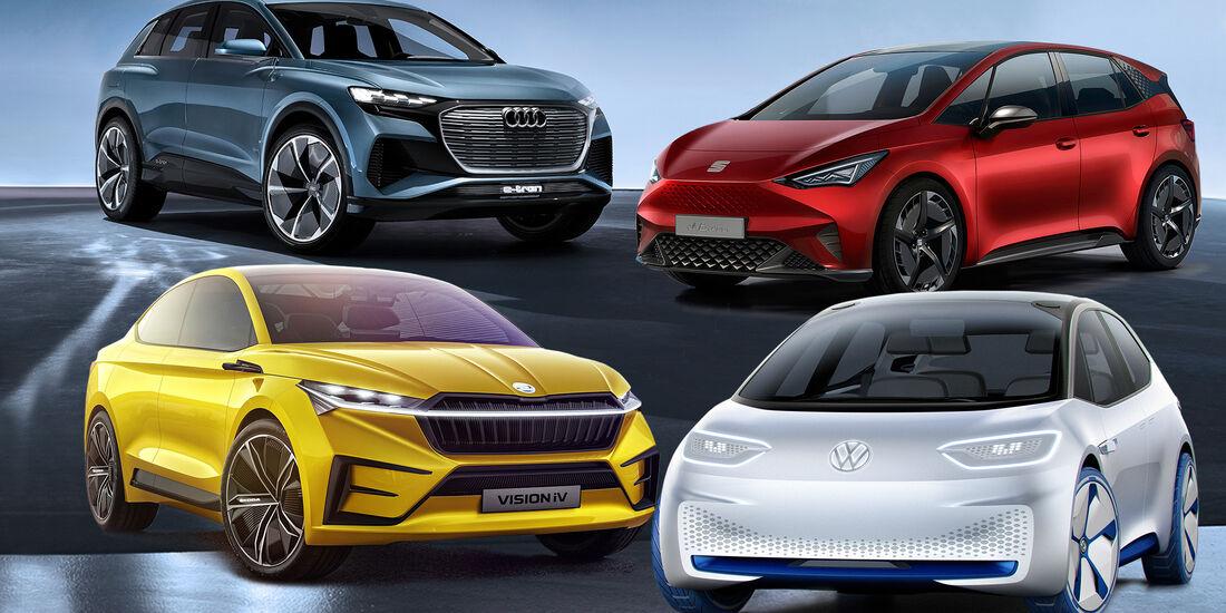 MEB Familie Seat el Born Skoda Vision IV VW ID Audi E-tron Q4 Concept