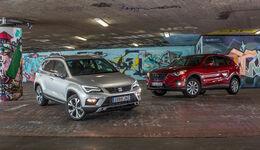 Mazda CX-5 2.0 G 165, Seat Ateca 1.4 TSI, Frontansicht