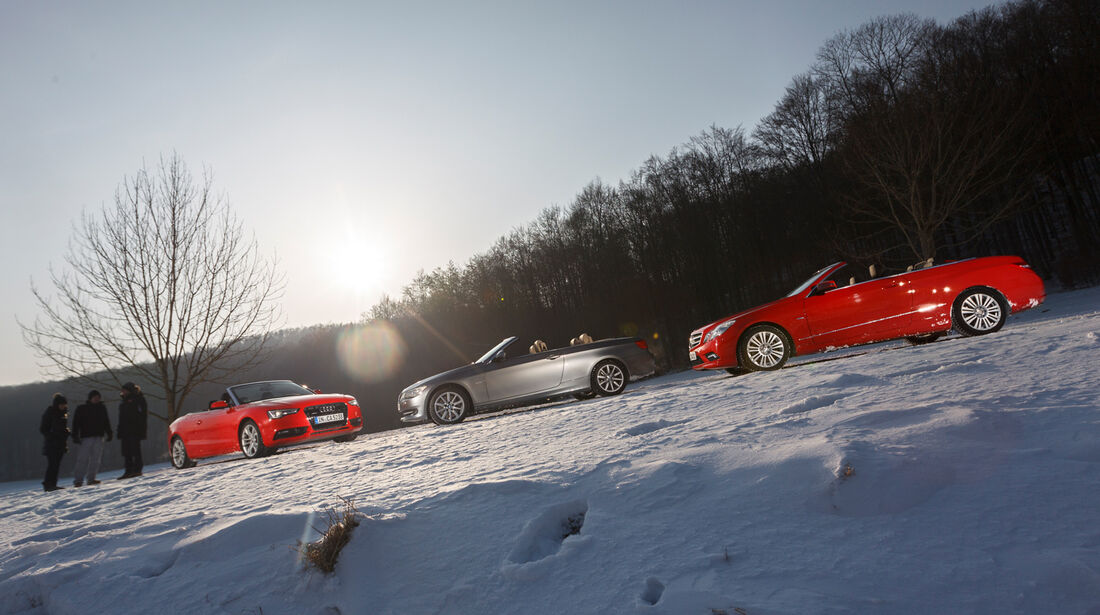 Mercedes E 350 Cabriolet, BMW 335i Cabriolet, Audi Cabriolet 3.0 TFSI Quattro, Seitenansicht