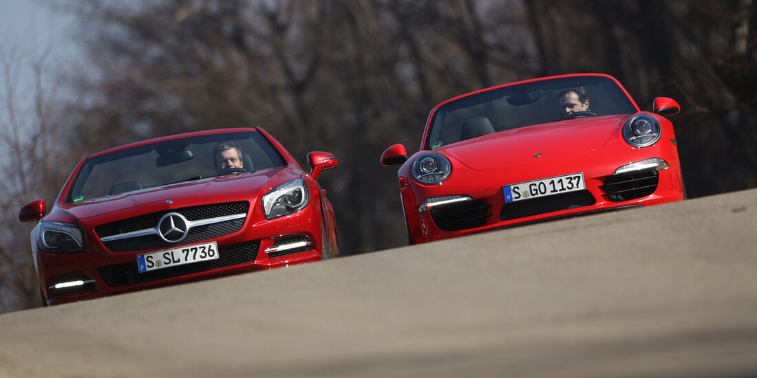 Mercedes SL 500, Porsche 911 Carrera S Cabrio, Frontansicht
