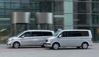 Mercedes V 250 d 4Matic lang, VW Multivan 2.0 TDI 4Motion, Seitenansicht