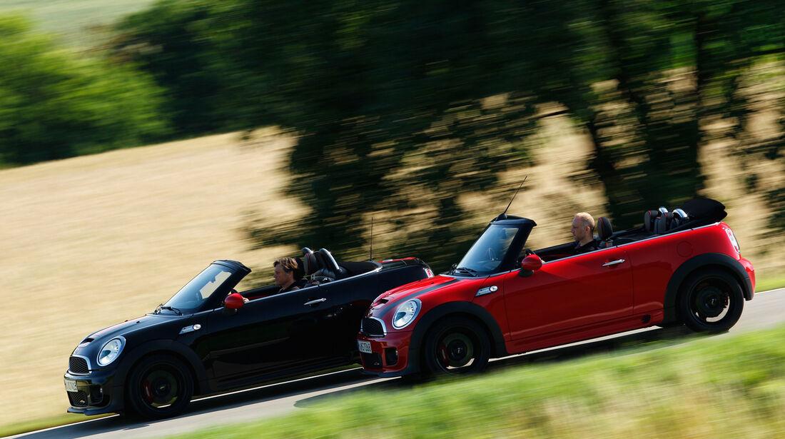 Mini Jcw Cabrio Gegen Roadster Open Air Minis Im Vergleichstest