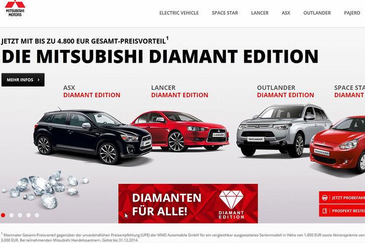 mitsubishi diamant editionen bis zu euro preisvorteil auto motor und sport. Black Bedroom Furniture Sets. Home Design Ideas