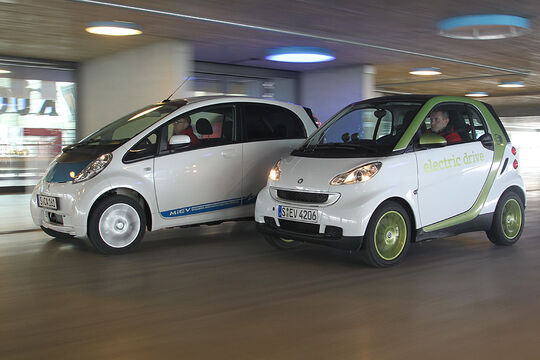 Mitsubishi i-Miev und Smart Fortwo ED