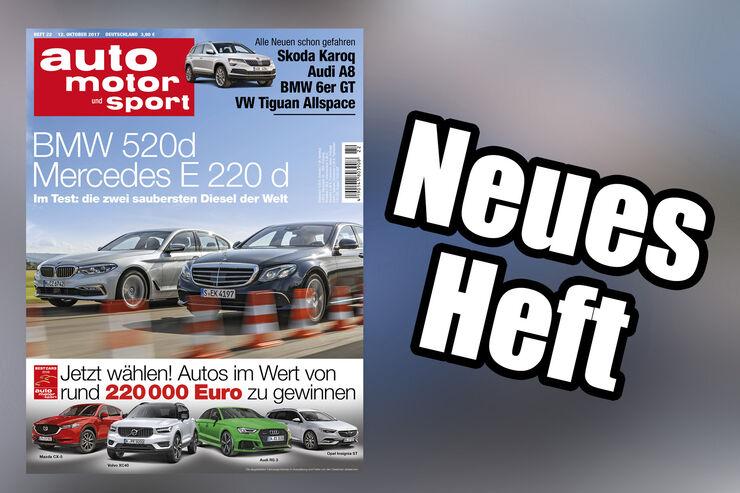 Neues Heft auto motor und sport, Ausgabe 22/2017, Heftvorschau