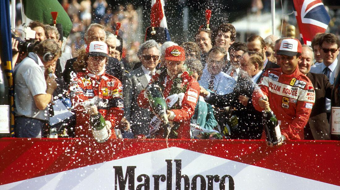 Niki Lauda - McLaren - Didier Pironi - Ferrari - Patrick Tambay - Ferrari - GP England 1982 - Brands Hatch