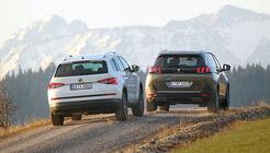 Peugeot 5008 BlueHDi 180 GT, Skoda Kodiaq 2.0 TDI 4x4, Heckansicht