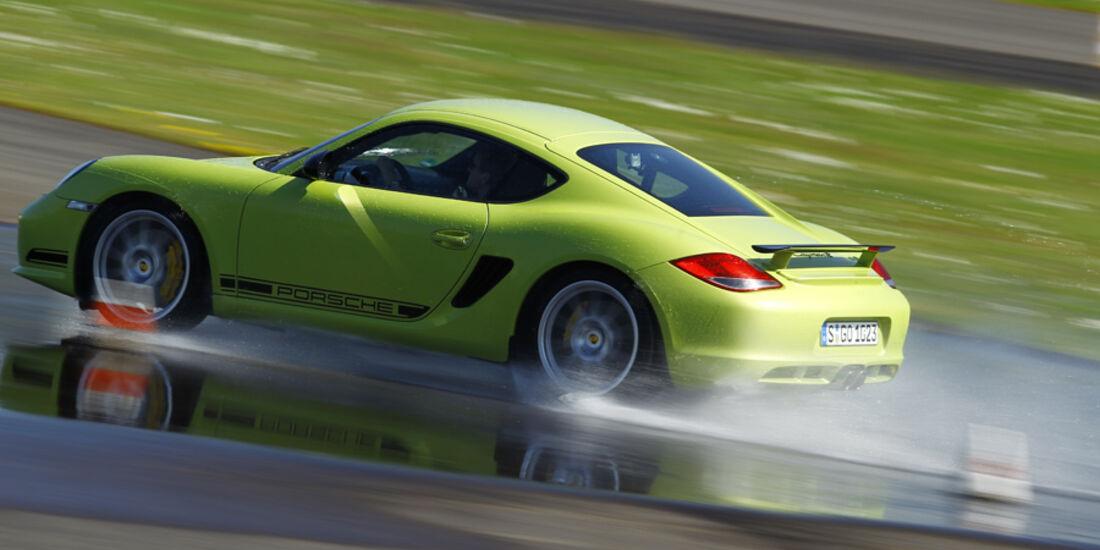 Porsche Cayman R, Seitenansicht, Wasserstraße