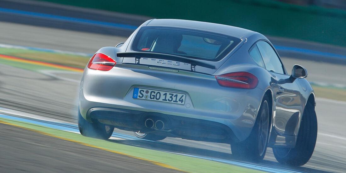 Porsche Cayman S, Heckansicht, Driften