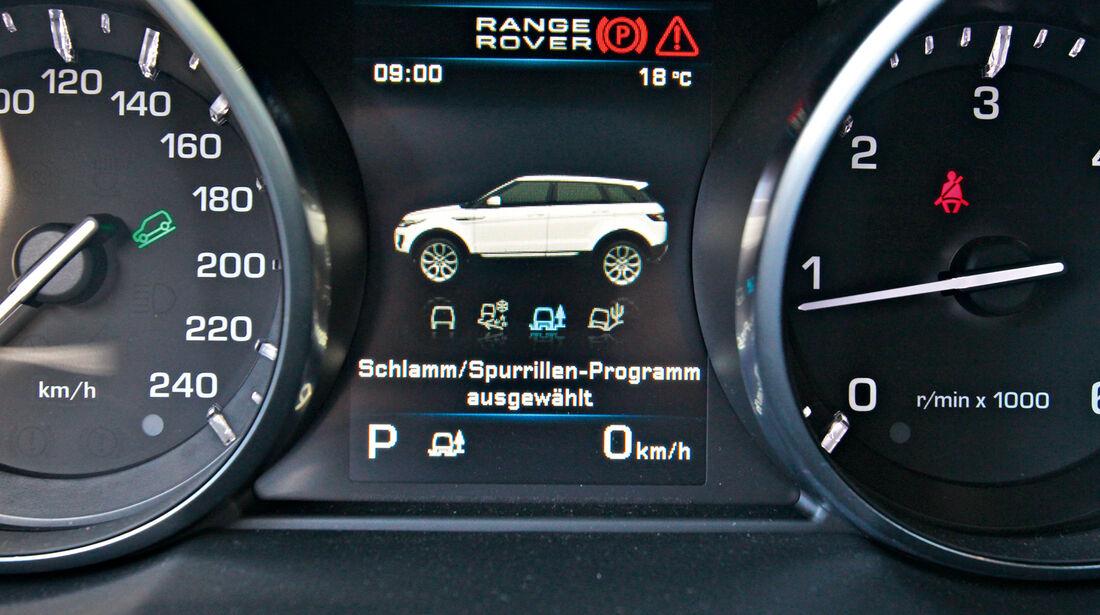 Range Rover Evoque 2.2 SD, Rundinstrumente, Display