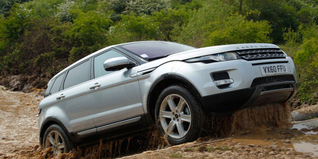 Range Rover Evoque, Frontansicht, Gelände, Flußdurchfahrt, Ende