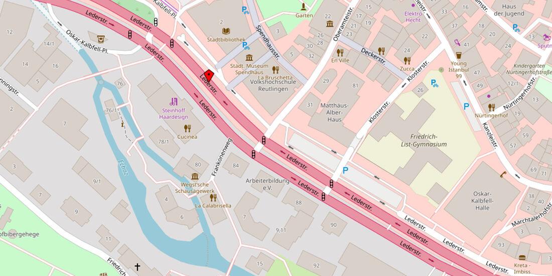 Reutlingen Lederstraße Karte