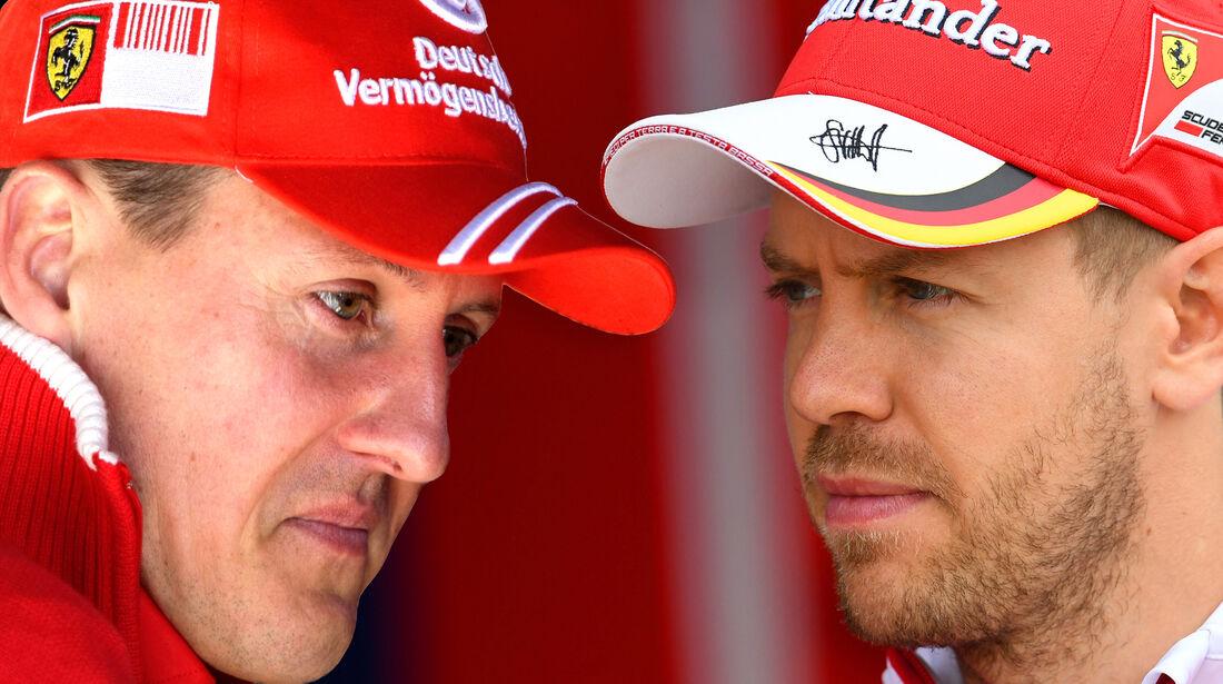 Sebastian Vettel & Michael Schumacher - Collage - Ferrari