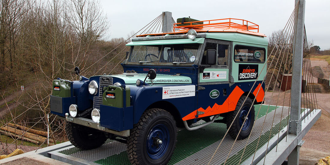 Series I First Overland Expedition Vehicle displaying the Journey of Discovery graphics for the 2012 expedition launch