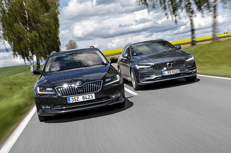 Skoda Superb Combi 20 Tdi Und Volvo V90 D3 Awd Im Test Auto Motor