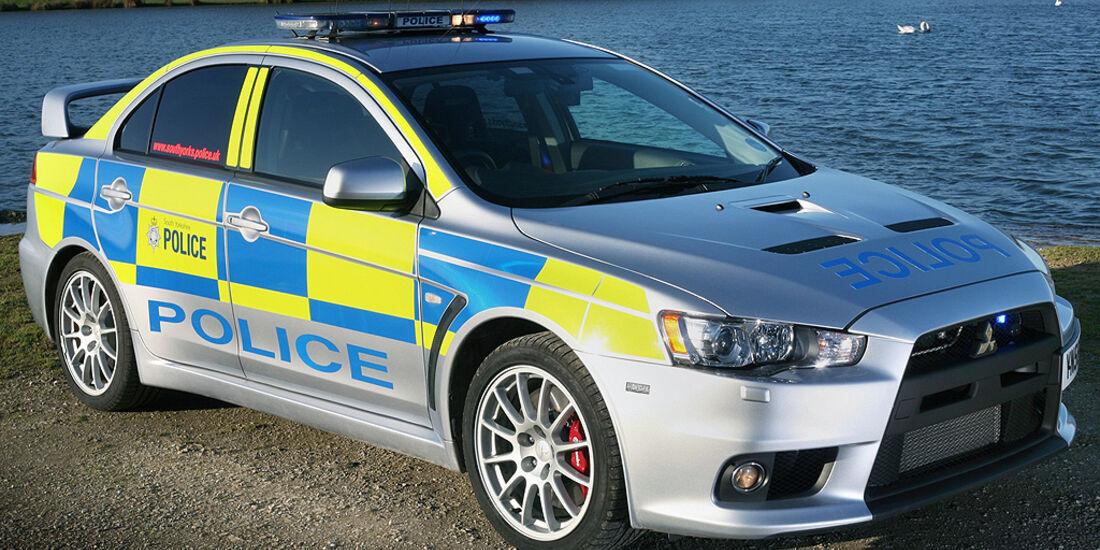Skurrile Polizeiautos, Streifenwagen, Mitsubishi Lancer Evo X