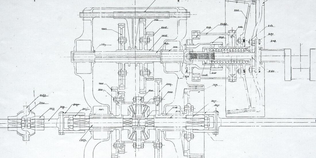 Spyker, Zeichnung, Getriebe