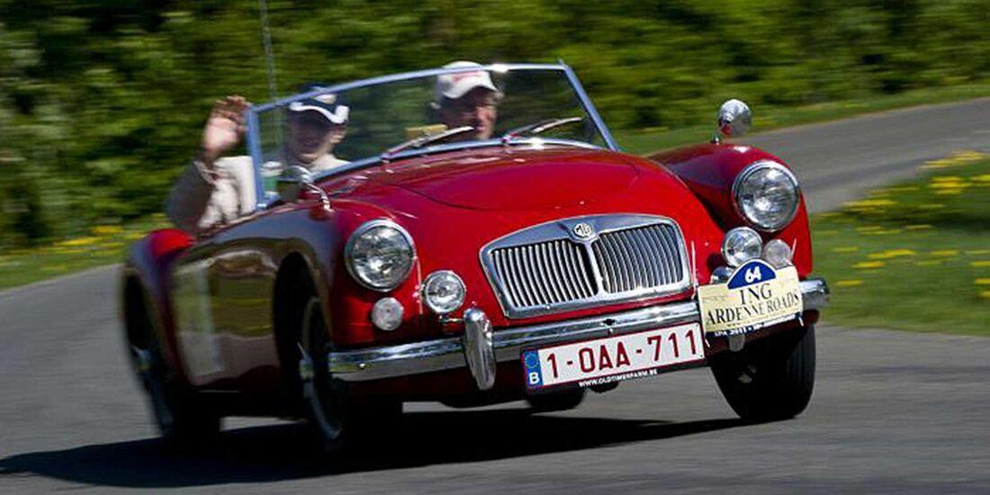 Startnummer 91: Rolf Verlinden im MG A, 1,6 Liter, 4-Zyl. Reihe, 79 PS, Baujahr 1960.