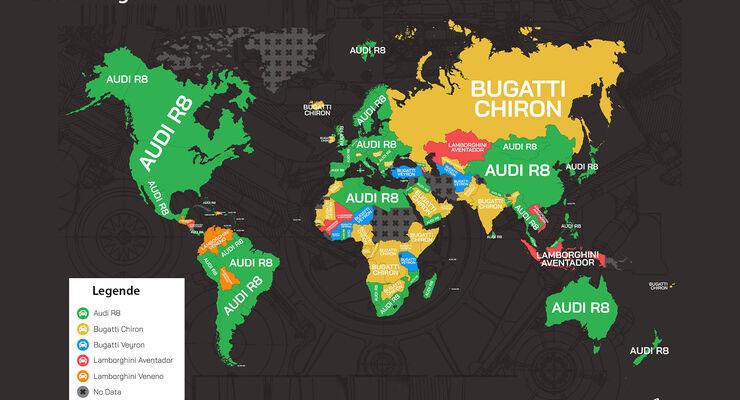 Supercars Weltkarte Internet-Suchen 2018