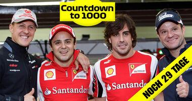 Teaser 1000 GPs - Schumacher, Massa, Alonso & Barrichello - GP Brasilien 2011