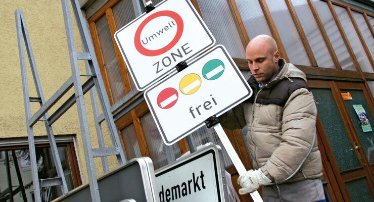 Umweltzone, Schild, Aufstellen