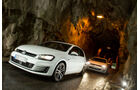 VW Golf GTD, VW Golf GTI, Frontansicht, Tunnel