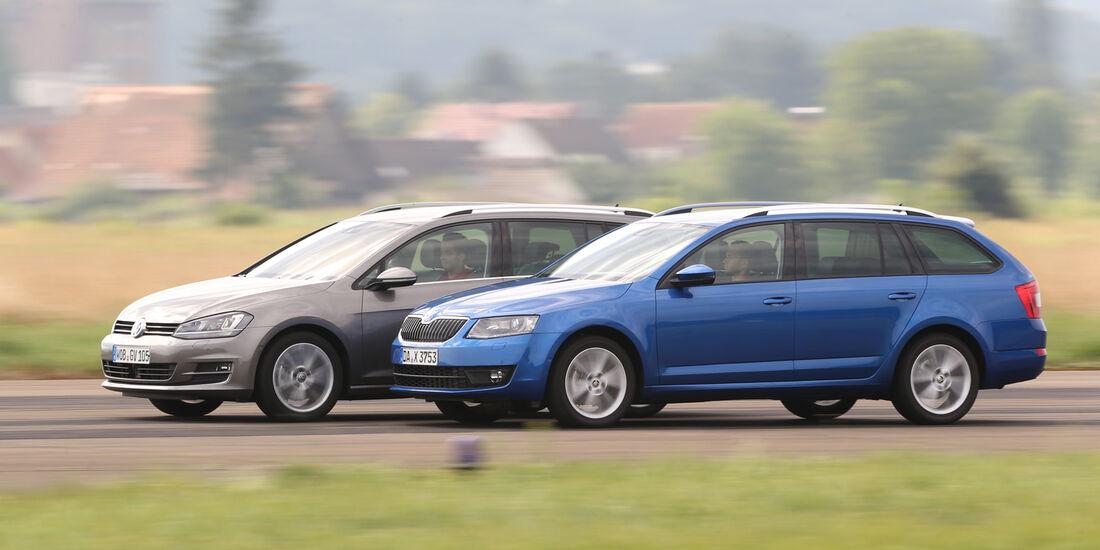 VW Golf Variant 2.0 TDI, Skoda Octavia Combi 2.0 TDI, Seitenansicht