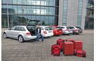 VW Passat Variant 2.0 TDI Highline, BMW 320d Touring Sportline, Audi A4 Avant 2.0 TDI Ambition, Mercedes C 220 CDI T Avantgarde, Skoda Superb Combi 2.0 TDI Eleg., Heckansicht