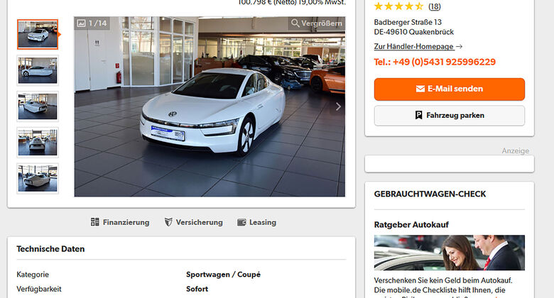 VW XL1 Gebrauchtwagen