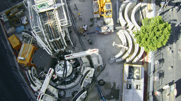 Vertical shaft sinking machine VSM9000 constructing an urban shaft in Naples, Italy