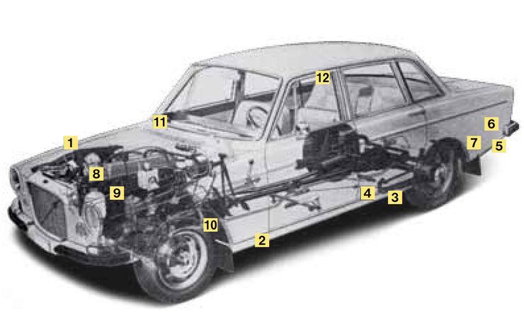 Volvo P 140 (142 -145), Schwachstellen, Igelbild