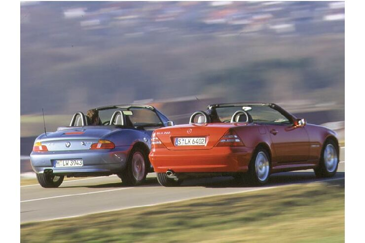 bmw z3 gegen mercedes slk 200 kompressor auto motor. Black Bedroom Furniture Sets. Home Design Ideas